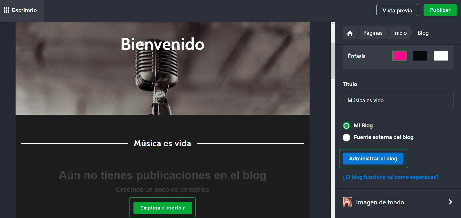 Editá la apariencia de tu blog