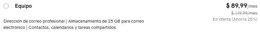 Precio correo electrónico de equipo en GoDaddy