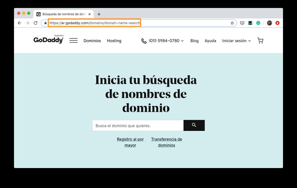 Ejemplo de URL de GoDaddy