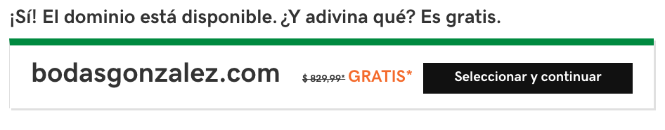 Ejemplo dominio disponible GoDaddy