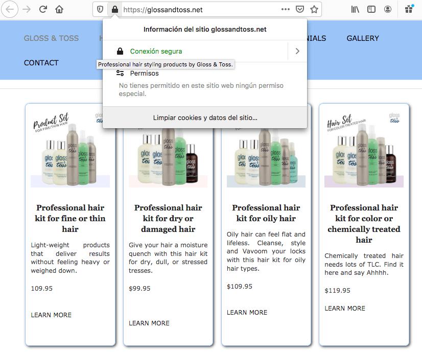Ejemplo de sitio con certificado SSL: Gloss&Toss