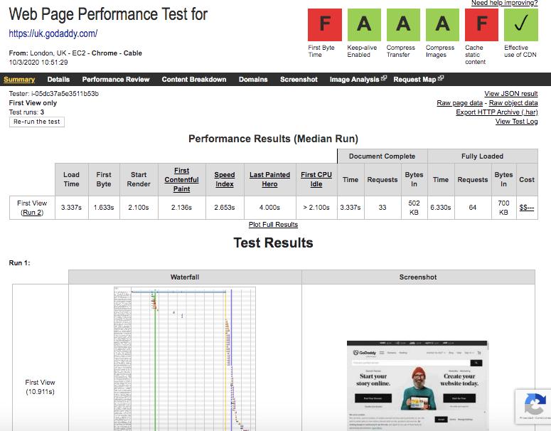 Ejemplo de un test de velocidad con WebPageTest